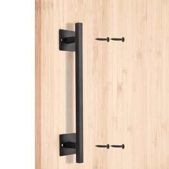 Black Barn Door Pull Handle with Latch Set Black 12 inch Round Heavy Duty Solid Steel Gate Handle for Barn Door Gates Garages Sheds