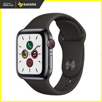APPLE WATCH SERIES 5 GPS  CELLULAR 44MM SPACE BLACK STAINLESS STEEL CASE WITH BLACK SPORT BAND by Banana IT
