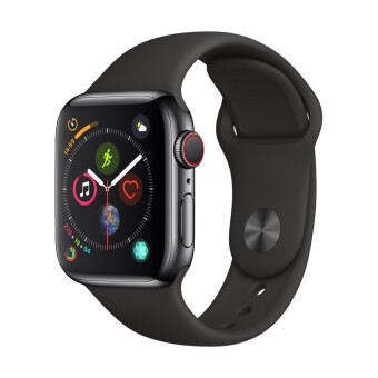 Apple Watch Series 4 GPSCellular 40mm, Space Black Stainless Steel Case, Black Sport Band