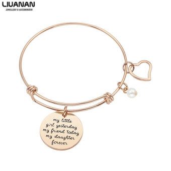 Rose Gold Bangle Bracelet For Bride Daughter Family Jewelry My Little Girl Yesterday My Friend Today My Daughter Forever