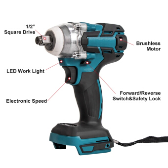 Electric Brushless Impact Wrench Rechargeable 12 Socket Wrench Cordless Without Battery for Makita 18V Battery