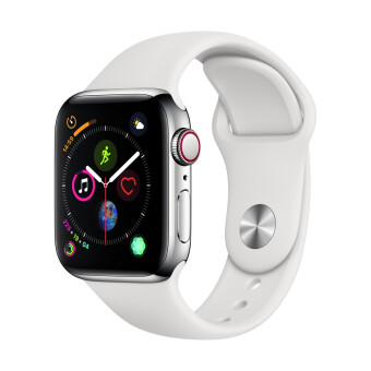 Apple-Apple Watch Series 4 GPSCellular 40mm, Stainless Steel Case, White Sport Band