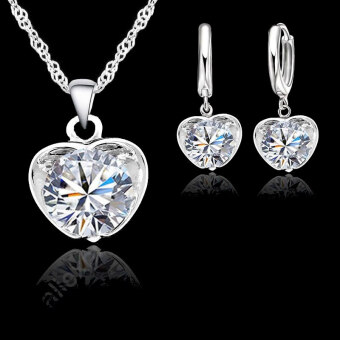 Heart Jewelry Sets Necklace Earrings Set Solid 925 Sterling Silver Cubic Zirconia Stone In Apple Store Suggestion