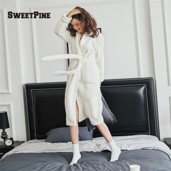 c2d2ce8c98ac  Global  SWEETPINE Solid Color Women Night Robe with Waist Belt   Pockets  for Winter