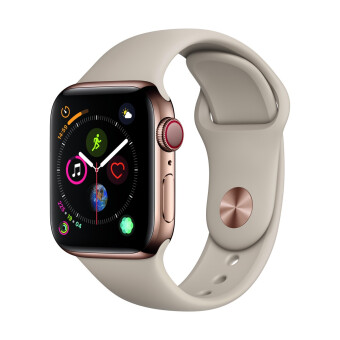 Apple-Apple Watch Series 4 GPSCellular 40mm, Gold Stainless Steel Case, Stone Sport Band