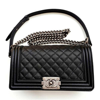 "กระเป๋า CHANEL BOY MEDIUM 10"" BLACK CAVIAR RHW 17P MCA67086RHWBLK"