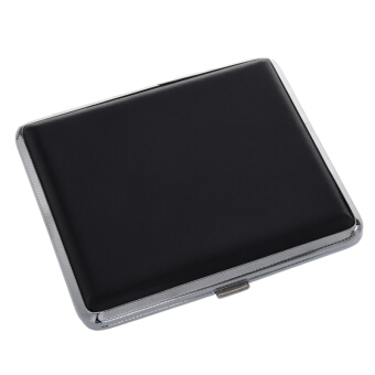 Black Press Button Faux Leather Metal Cigarette Case Holder