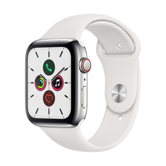 Apple Watch Series 5 GPSCellular 44mm, Stainless Steel Case, White Sport Band