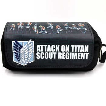 Anime Game Attack on Titan Pencil Case Makeup Bag Zipper Pouch Students Cartoon Stationery Pouch AOT-01