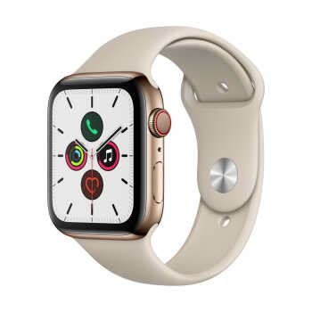 Apple Watch Series 5 GPS+Cellular (44mm, Gold Stainless Steel Case, Stone Sport Band)