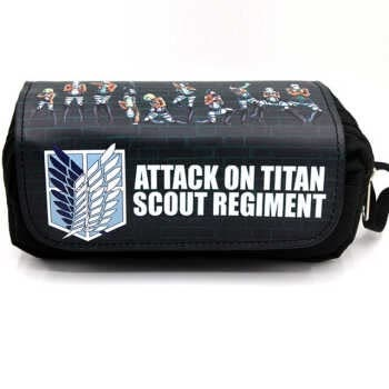 Anime Game Attack On Titan Pencil Case Makeup Bag Zipper Pouch Students Cartoon Stationery Pouch