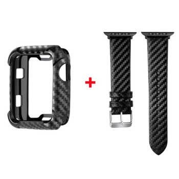Watch Band With Protective Case For Apple Watch Series 4 5 44mm 40mm Carbon Fiber Suit Protector Cover Bracelet Strap For Iwatch Black Suit_40mm series 5 Suit