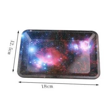 Galaxy Tinplate Metal Rolling Tray Hd Pattern Printed Tobacco Cigarette Holder Smoking Accessories