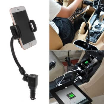 Free Shipping Car Cigarette Lighter Mount Stand Holder 2 Usb Port Charger For Phone