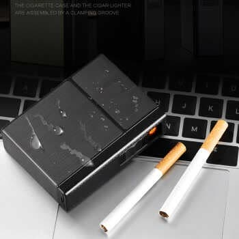 Usb Rechargeable Smoking Cigarettes Box Portable Cigarette Box With Lighters Windproof Holder Lighter Hogard