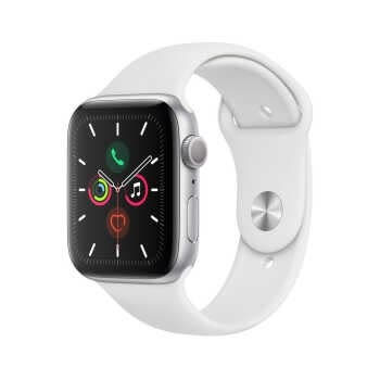 Apple Watch Series 5 GPS (44mm, Silver Aluminum Case, White Sport Band)