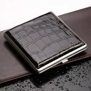 Delicate Cigarette Box Case Black Pocket-Leather Metal Tobacco For 20pcs Personal Cigarette Smoke Holder Storage Case