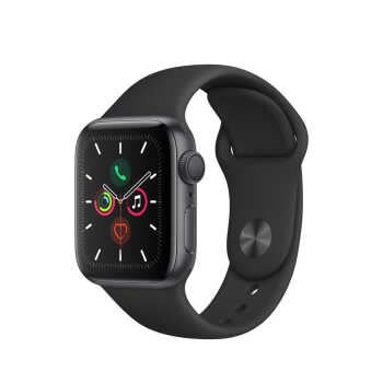 Apple Watch Series 5 GPS (40mm, Space Gray Aluminum Case, Black Sport Band)