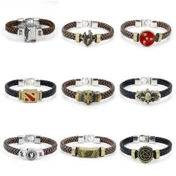 Anime Game Naruto Attack On Titan Black Butler Detective Conan Dota 2 Final Fantasy Leather Braided Charm Bracelet Woven Bangles Bleach black silver Not Specified