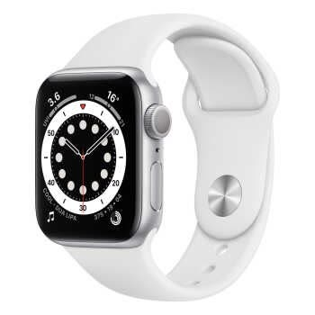 Apple Watch Series 6 GPS (40mm, Silver Aluminum Case, White Sport Band)