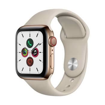 Apple Watch Series 5 GPS+Cellular (40mm, Gold Stainless Steel Case, Stone Sport Band)