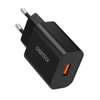 Choetech Quick 3.0 18w Usb Charger For Xiaomi Iphone 12 Fast Charger Qc3.0 Adapter For Samsung Note 10 9 Charger EU black 18W
