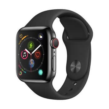 Apple Watch Series 4 GPS+Cellular (40mm, Space Black Stainless Steel Case, Black Sport Band)