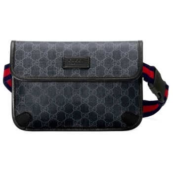 กระเป๋าคาดอก คาดเอว GUCCI GG SUPREME BLACK BELT BAG (BLACK/GREY) [MC‎598113K5RLN1095] BLACK/GREY